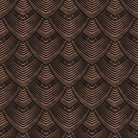 Copper seamless texture with scales pattern, 3d illustration