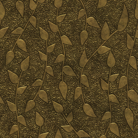 Gold metal seamless texture with pattern, 3d illustration
