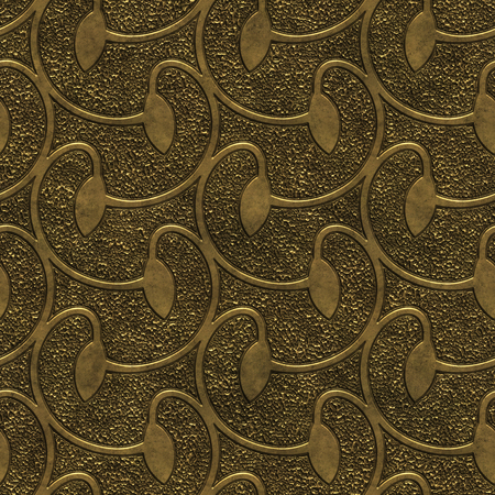 Gold metal seamless texture with swirls pattern, 3d illustration