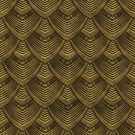 Gold metal seamless texture with scales pattern, 3d illustration