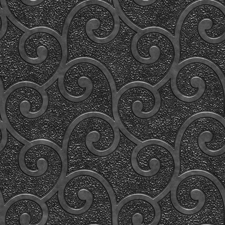 Metal seamless texture with swirls pattern, panel, 3d illustration