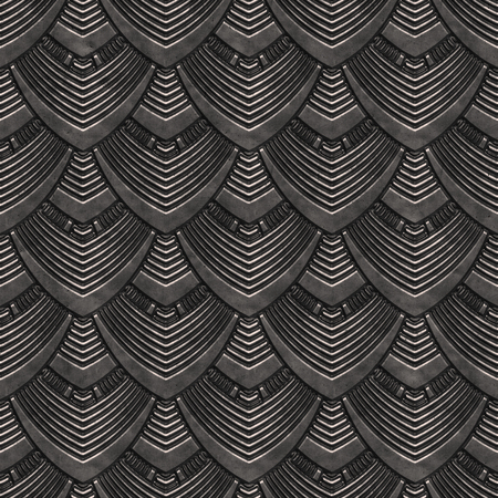 Metal seamless texture with scales pattern, panel, 3d illustration