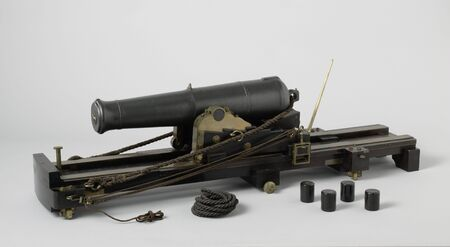 Model of an 80-Pounder Shell Gun on a Pivot on a Ship Deck, 19th century arms