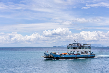 Trat, Thailand - May 12th, 2017; The Ferry boat arriving to Koh Chang island from the mainland of Trat province.  Koh chang Is the second largest island of Thailand. Stok Fotoğraf - 78987452