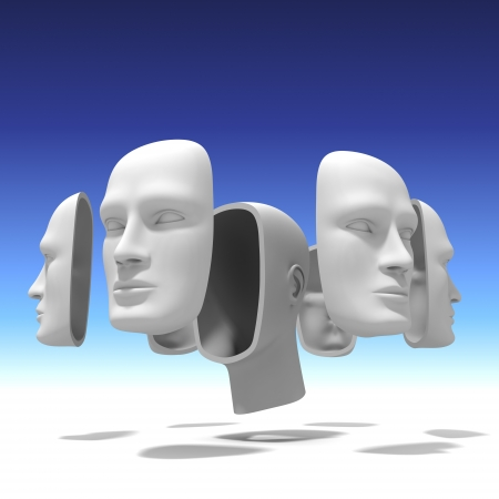 sense of space: Human head with many faces