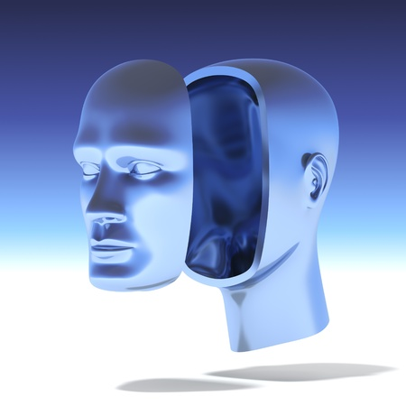 Human head with separate face photo