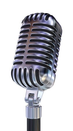 microfono antiguo: Micr�fono Old Fashion. Aislado en blanco.