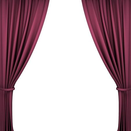 telon de teatro: cortinas de terciopelo rojo del teatro en el fondo blanco