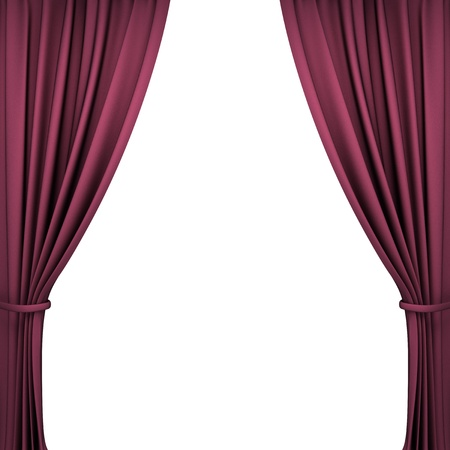 red velvet theater curtains on white background photo