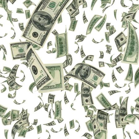 Falling dollar bills on white background photo