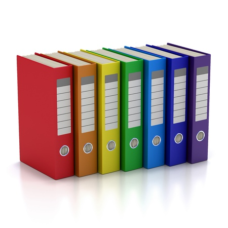 Seven Colorful File Folders. Isolated on white. photo