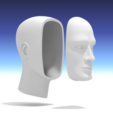self exam: Human Head with separate Face