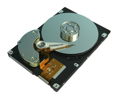 Hard Disk Drive Inside  Isolated on white  photo