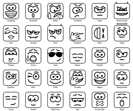 chuckle: Set Vector Square Emoticons with rounded corners Illustration