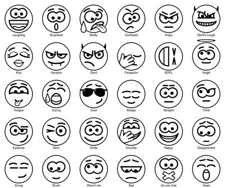 yawn: Set Vector Circle Smiles