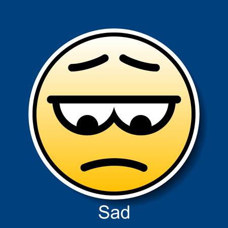 sad cartoon: Vector Smiley Sad