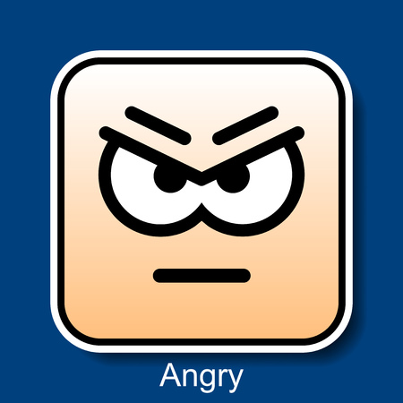 Vector Square Emoticon Angry with rounded corners