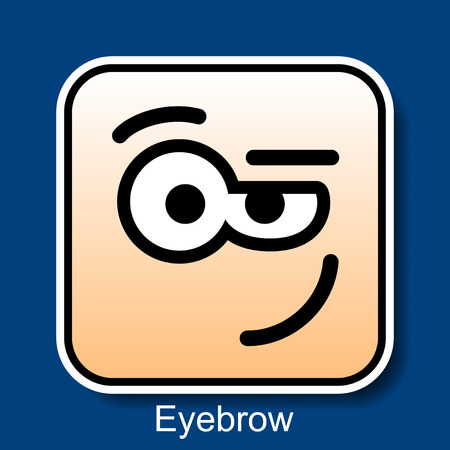 disbelief: Vector Square Emoticon Eyebrow with rounded corners
