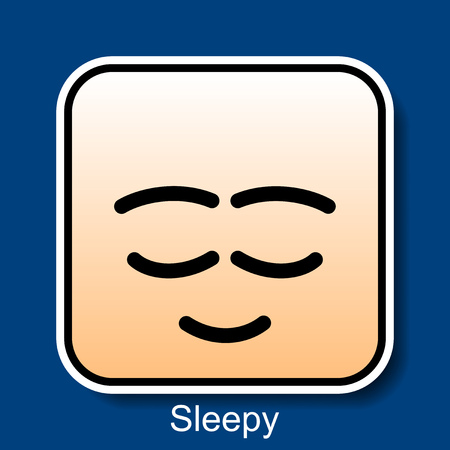 weary: Vector Square Emoticon Sleepy with rounded corners Illustration