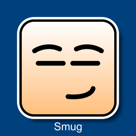 Vector Square Emoticon Smug with rounded corners