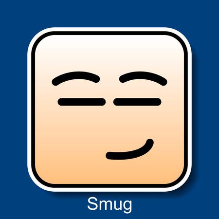 smug: Vector Square Emoticon Smug with rounded corners