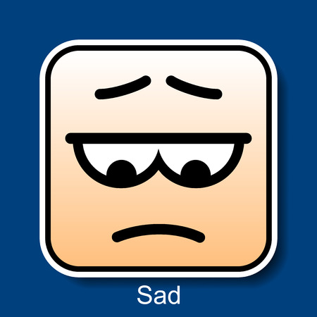 Vector Square Emoticon Sad with rounded corners Illustration