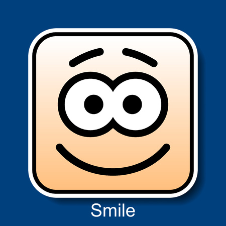 Vector Square Emoticon Smile with rounded corners