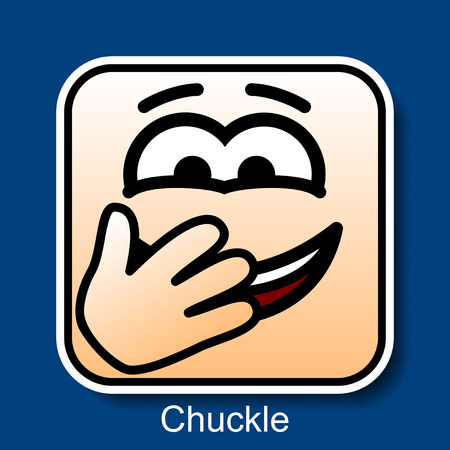 chuckle: Vector Square Emoticon Chuckle with rounded corners Illustration