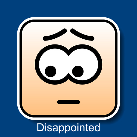 disappointed: Vector Square Emoticon Disappointed with rounded corners Illustration
