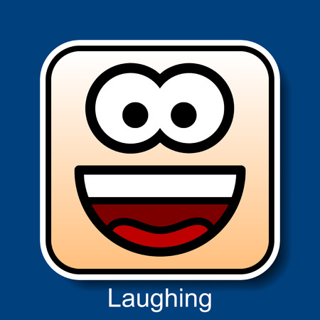 Vector Square Emoticon Laughing with rounded corners Illustration