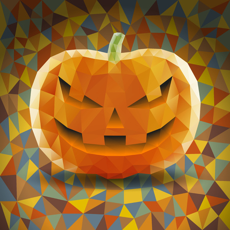 Abstract Halloween Triangles Pumpkin on Colored Background Illustration