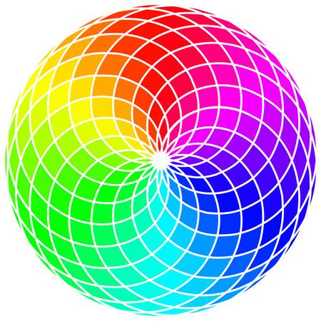 rainbow abstract: Abstract Stylized Rainbow Wheel Illustration