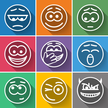 Set Line Circle Smiles on Color Background