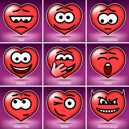 chuckle: Set Vector Valentines Day Smiles