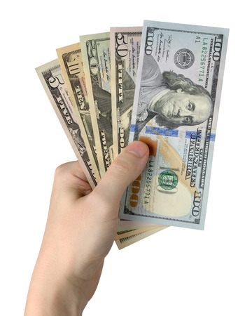 one hundred dollars: Hand holding of Dollar Bills. Isolated on white background. Clipping path included