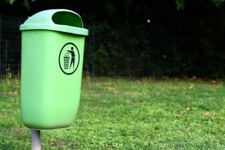 Rubbish container in the park, used for recycling Stock Photo