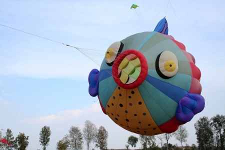 Fish blown by the wind, kite in the sky  Stock Photo
