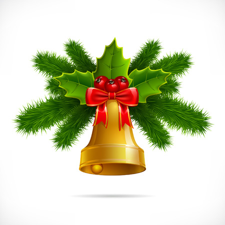 Bell with Christmas decoration isolated on white background Ilustracja