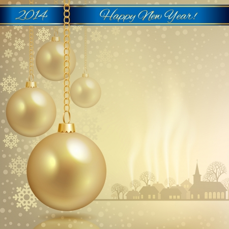 Gold Christmas balls on the background of a winter town vector format