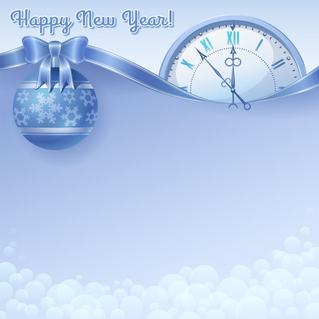 Happy New Year vector blue background