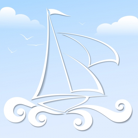 Paper boat in the blue ocean vector format