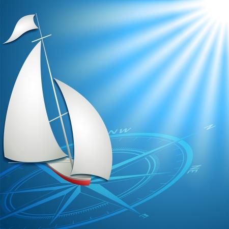sailfish: Sailfish con bussola in formato vettoriale oceano blu