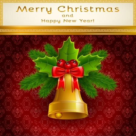 Golden Bell with Christmas decoration on bordo background Zdjęcie Seryjne - 24595295
