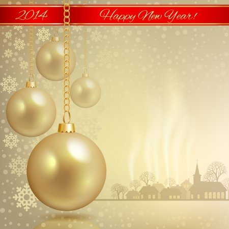Gold Christmas balls against the backdrop of the Christmas town Vector