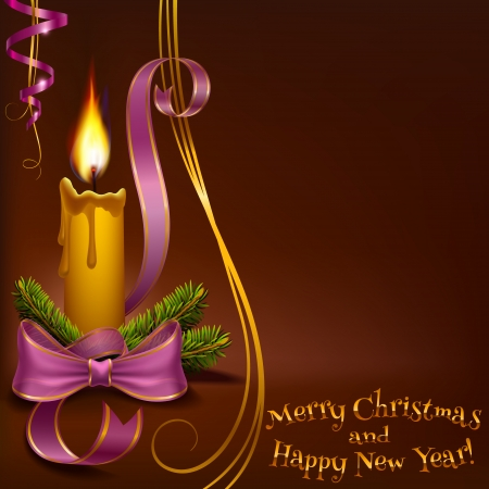 Christmas candle on a brown background to vector format Zdjęcie Seryjne - 24626628