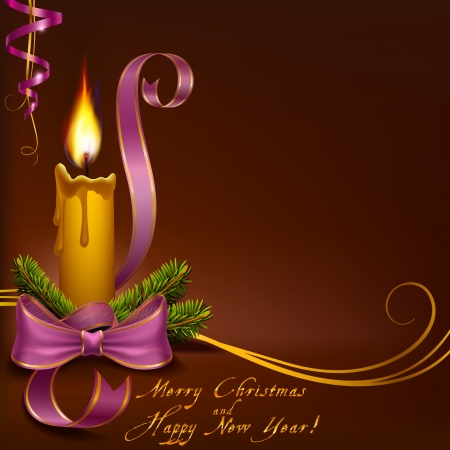 Christmas candle on a brown background horizontal to vector format Ilustracja