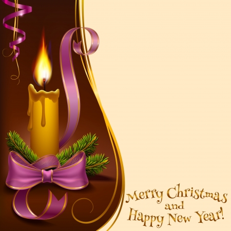 lighted: Christmas lighted candle and fir branches with balls to vector format