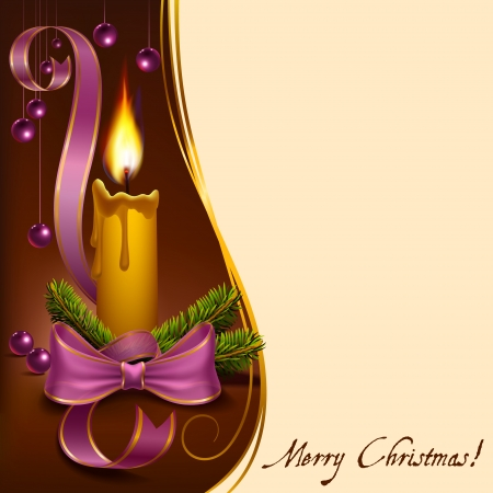 Christmas candle decorated with fir branches, ribbons and beads to vector format Zdjęcie Seryjne - 24626632