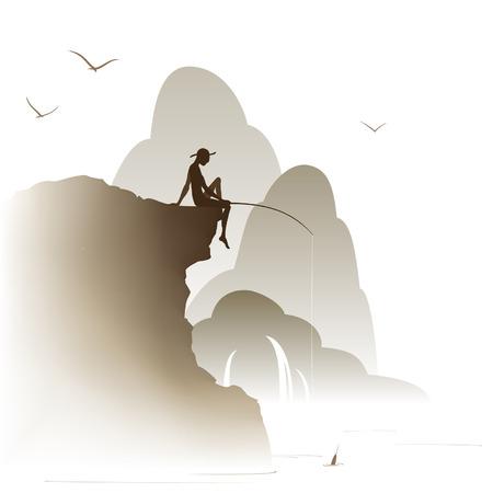 pescador: pescador sentado en una roca sobre un fondo de monta�as en la niebla