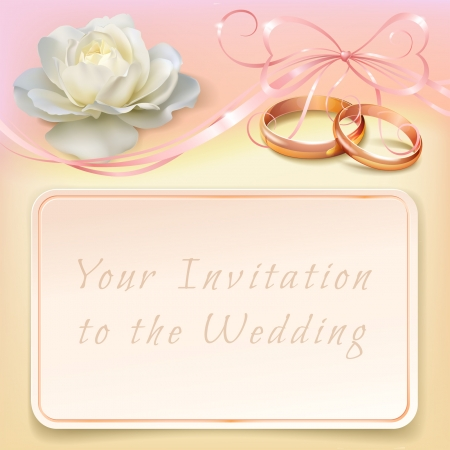 invitation card for wedding with flower, ribbon and wedding rings Vector